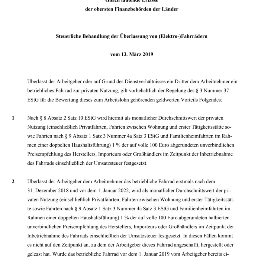 Erlass der obersten Finanzbehörden der Länder vom 13.03.19