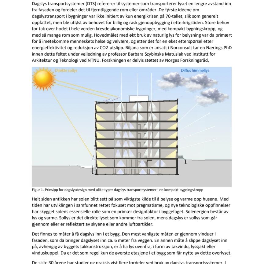 Biljana Obradovic fra Norconsult med artikkel i magasinet Lyskultur: «Dagslystransportsystemer med bevist effektivitet for høye breddegrader»