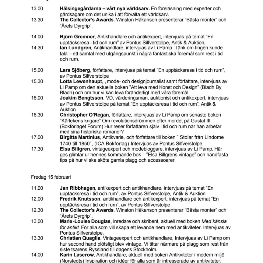 Scenprogram Antikmässan 2013