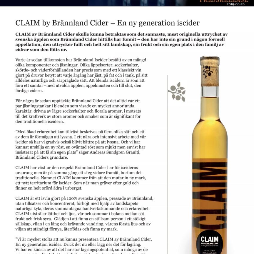 Claim - ny iscider från Brännland