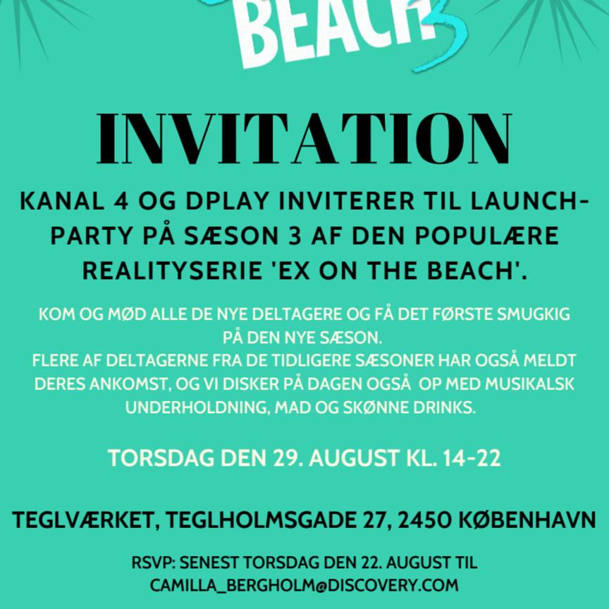 'Ex on the beach' presselaunch event invitation