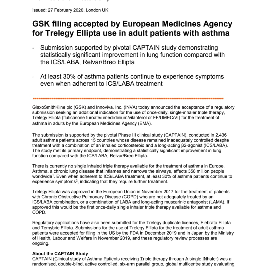 GSK filing accepted by European Medicines Agency for Trelegy Ellipta use in adult patients with asthma