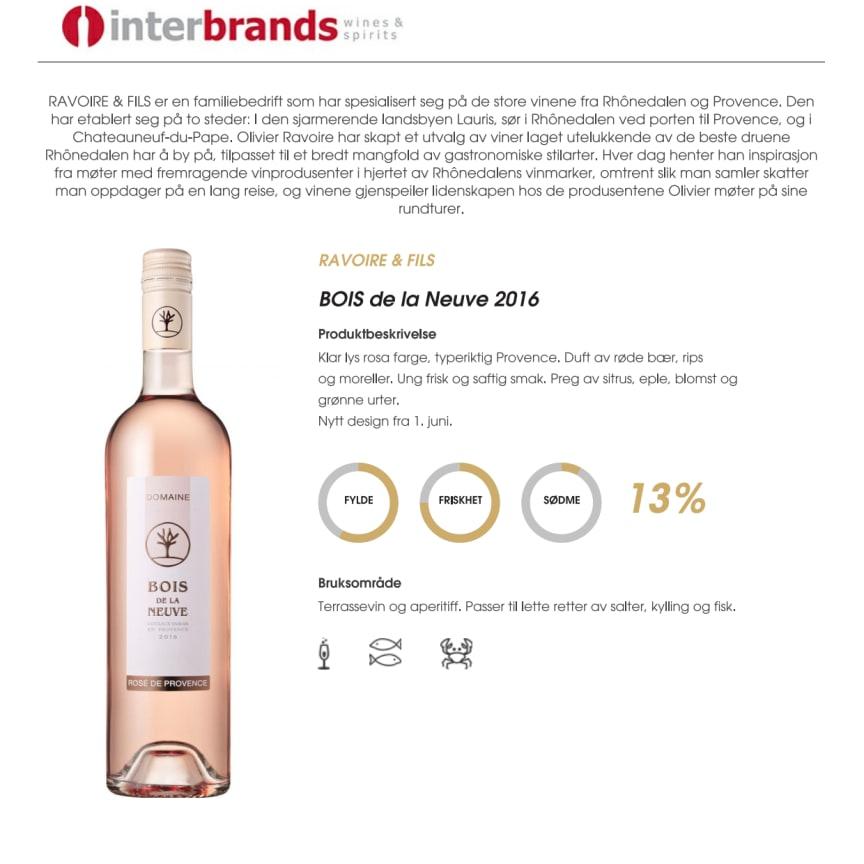BOIS de la Neuve 2016 Produktark