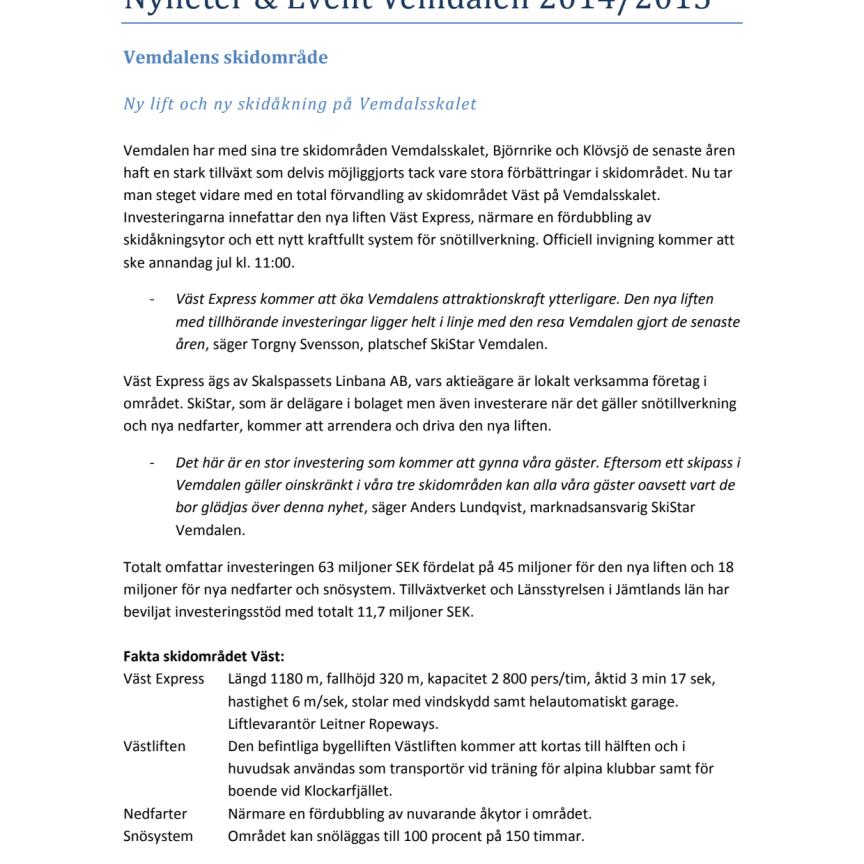 SkiStar Vemdalen: Nyheter & Event 2014/2015