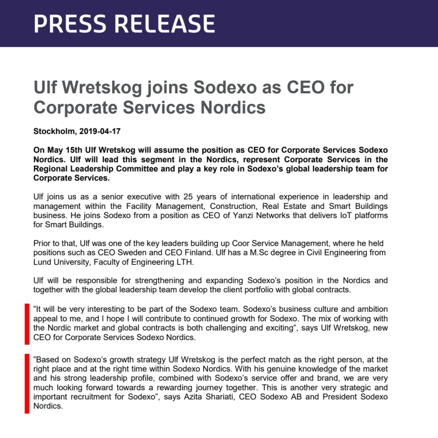 Ulf Wretskog joins Sodexo as CEO for Corporate Services Nordics