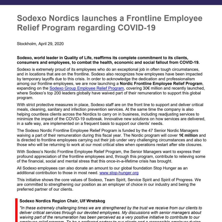 Sodexo Nordics launches a Frontline Employee Relief Program regarding COVID-19
