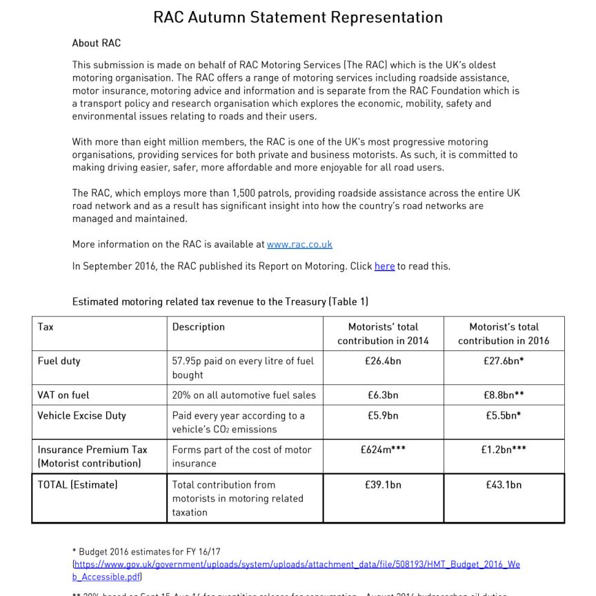 RAC Autumn Statement representation to the Treasury