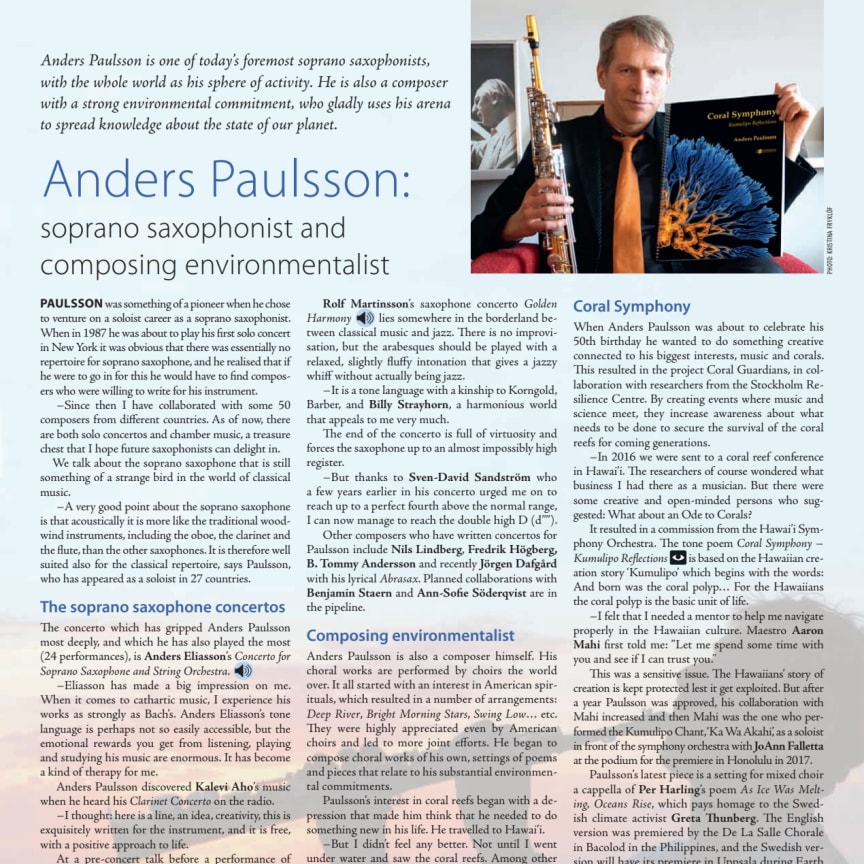Anders Paulsson – soprano saxophonist and composing environmentalist