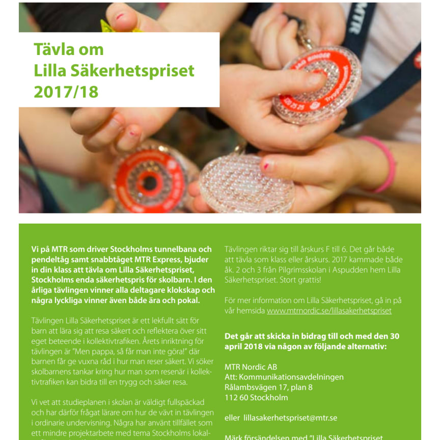 Inbjudan till skolor att tävla om Lilla säkerhetspriset 2018