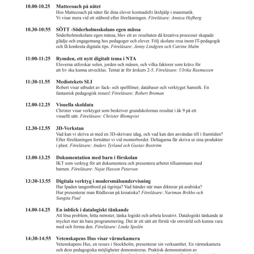 Alla föreläsningar i utbildningsförvaltningens monter på SETT-mässan 2016