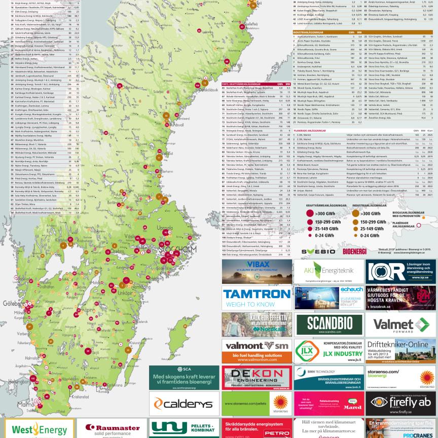 Bioenergis karta: Biokraft i Sverige 2019