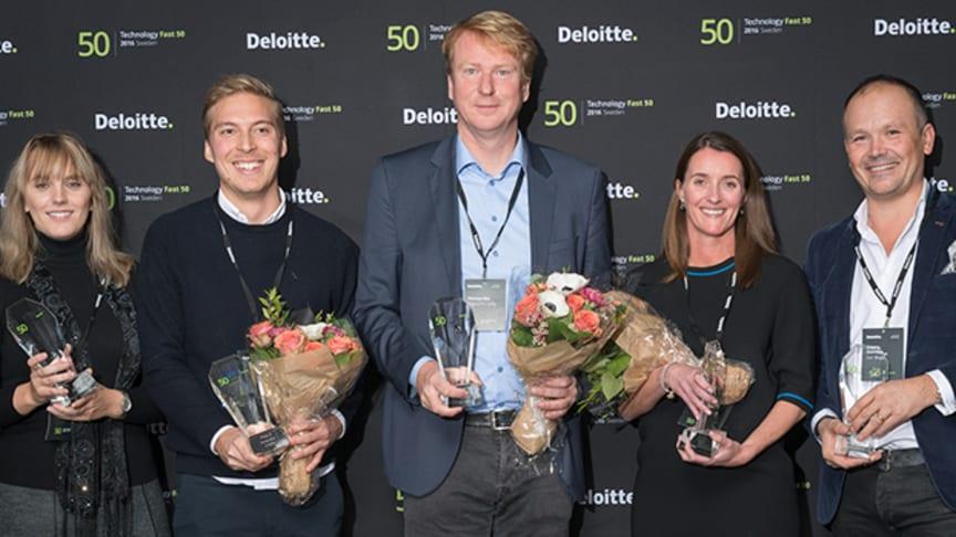 Sveriges snabbast växande teknologiföretag: FEO Media (4), Instantor (5), Fingerprint Cards (1), iZettle (3) och Star Stable Entertainment (2)