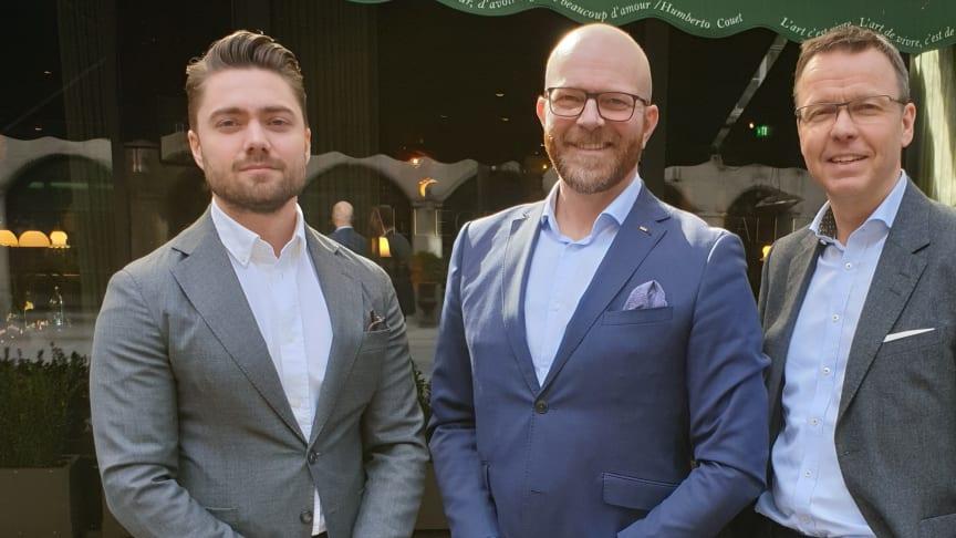 Alarik Sandrup (mitten) valdes till ny ordförande i Svebio vid årsmötet 2 april som hölls via en digital plattform. Årsmötet leddes av Ludwig Kollberg (till vänster), ansvarig för samhällskontakter på Preem. Till höger Gustav Melin, vd för Svebio.