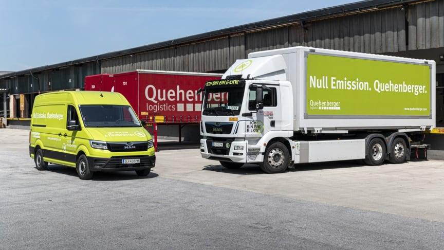 Billede af el-varebil og el-lastbil i Quehenberger Logistics' e-mobility flåde