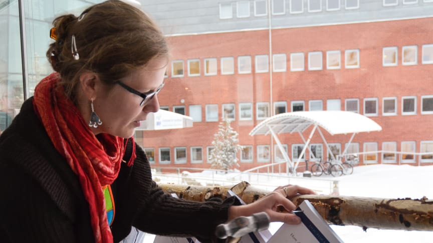 """Audrey Schillings """"nails"""" her thesis, about oxygen outflow from the Earth's atmosphere, at the Space Campus in Kiruna, Sweden. Photo: Annelie Klint Nilsson, IRF"""