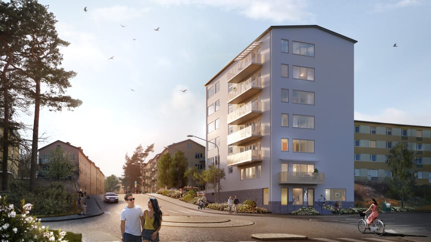 37 nyproducerade hyreslägenheter står nu klara i Traneberg. Bild: Amneby Forslund Arkitekter