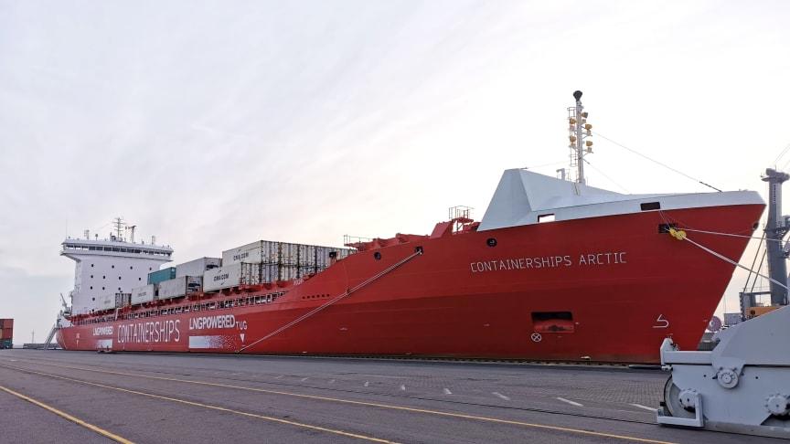 Den sjunde februari var en speciel dag i Helsingborgs Hamn. Det var första gången hamnen tog emot ett LNG-fartyg och det var samtidigt fartygets, Containerships Arctics, första seglats.