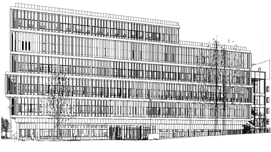 Syntolkning: Svart-vit arkitektbild av delar av sjukhusbyggnad i sex våningsplan.
