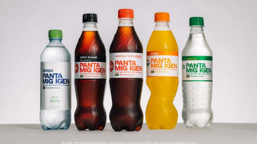Nu kommer flaskorna av 100 procent återvunnen plast med uppmaning om att panta igen