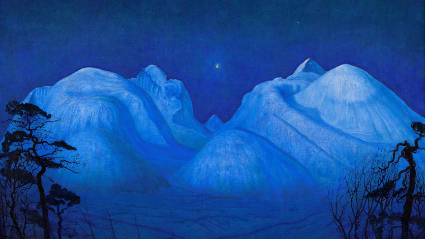 """"""" Winter Night in the Mountains"""", 1914 by the norwegian artist Harald Sohlberg (1869-1935). The National Museum shows an exhibition  by this artist from the end of September."""