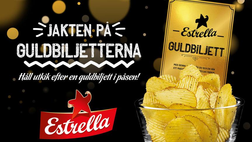 Jakten på guldbiljetter börjar nu! Totalt 10 guldbiljetter fördelas mellan chipssmakerna Salt, Grill och Sourcream & Onion 275g. Följa jakten på www.estrella.se/guldbiljetten eller @EstrellaSverige på Instagram och Facebook