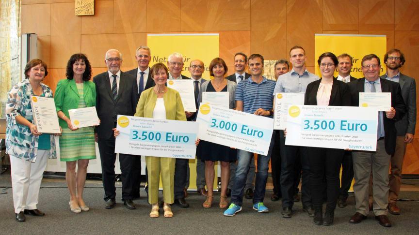 Verleihung des Bürgenergiepreises Unterfranken: Die Preisträger kommen aus Saal an der Saale (Lk Rhön-Grabfeld), Marktheidenfeld und Karlstadt (Lk Main-Spessart).