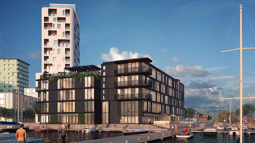 Gestaltningsbild hotell i stadsdelen Innerhamnen. Foto: Solixx