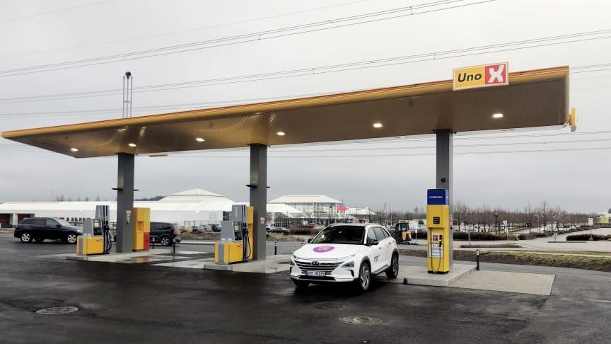Uno-Xs hydrogenstasjon på Hvam er en av dem som Enova har støttet tidligere (Foto: Uno-X Hydrogen).