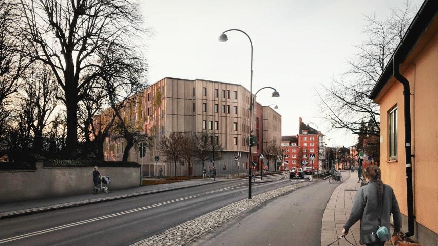 Högne kommer att ha 320 parkeringsplatser och 54 lägenheter när det är klart våren 2022. Illustration: White