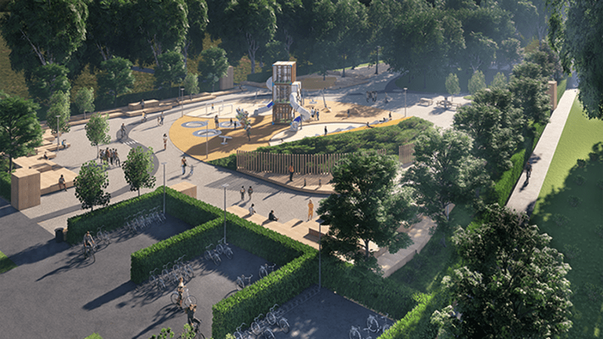 Visionsbild på Landskronas största lekplats.