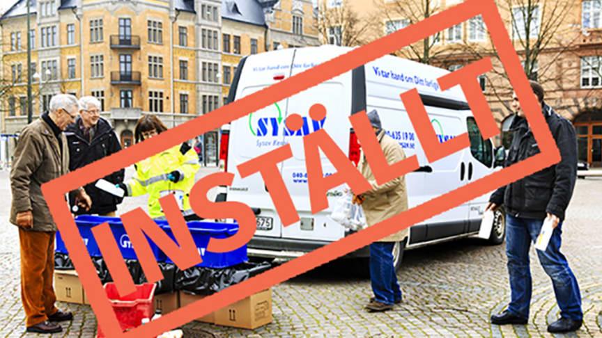 INSTÄLLT Farligt avfall-bilens turer är inställda tills vidare på grund av coronaviruset.