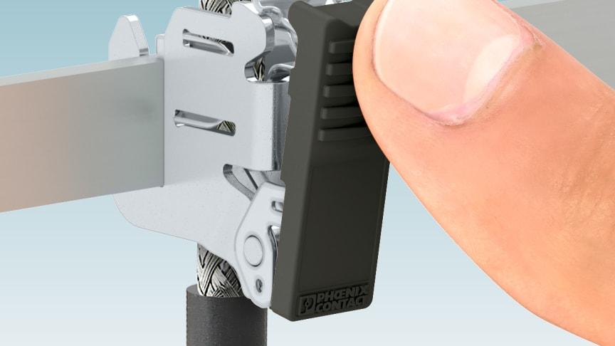 Skärmanslutningsklämma SCC monteras enkelt för hand