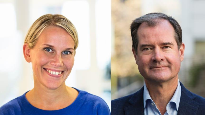 Karolina Brick, miljöchef på Riksbyggen och Mårten Lilja, vice vd Riksbyggen och chef för affärsområde Bostad.