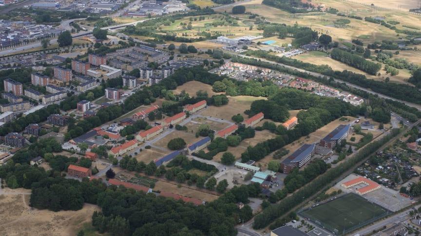 Flygbild över Sege Park. Fotograf; Perry Nordeng