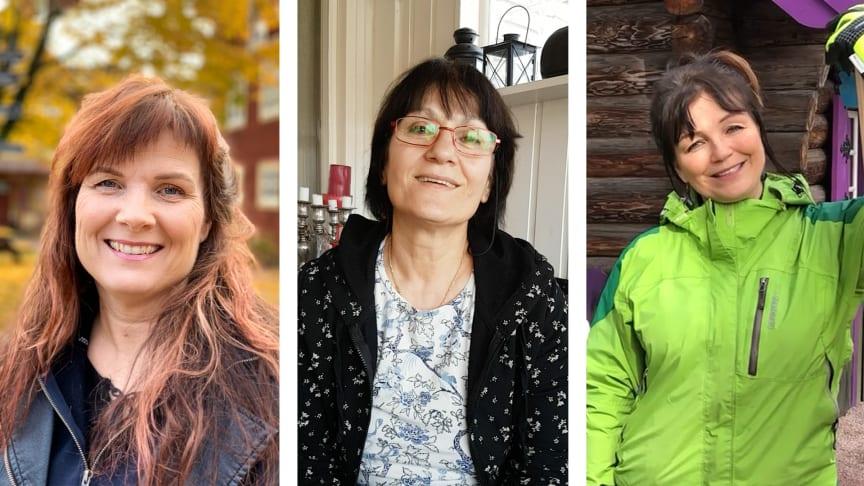 Finalisterna i Årets dalakraft från vänster Stina-Kari Axelsson, Jinan Hussein och Camilla Collett