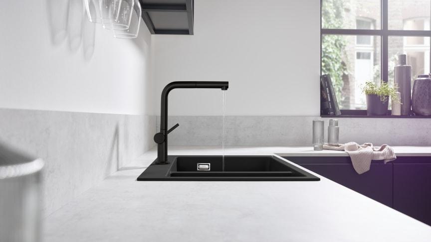 Talis M54 yksiote keittiöhana 270 1jet, pesukoneventtiili, musta, miljöö