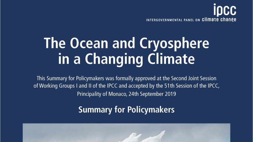 Pressinbjudan: Presentation av IPCC:s rapport The ocean and cryosphere in a changing climate