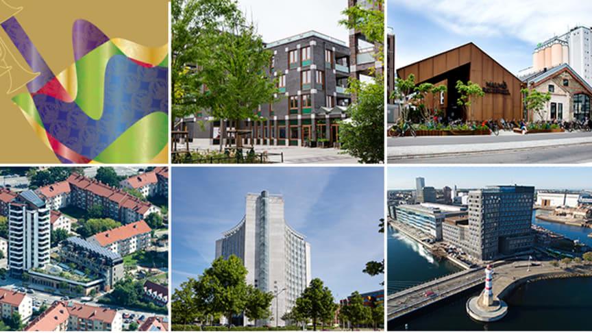 Fem projekt tävlar om Stadsbyggnadspriset och Gröna Lansen 2017. Vem som vinner avgörs på Stadsbyggandets dag den 1 september.