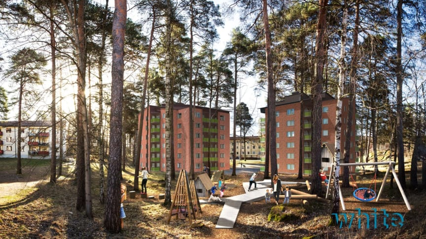 På Skallberget, Västerås, byggs 64 nya hyresrätter med start våren 2020.