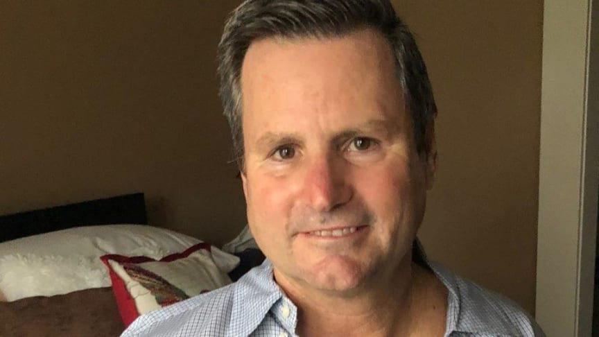 Mike Wilson, 59, being monitored at home by the Patient Status Engine and Isansys Lifetouch wearable sensor