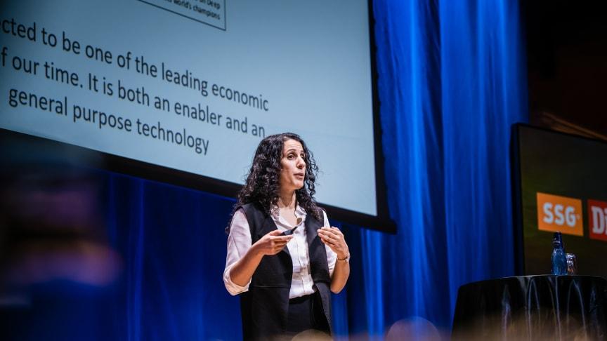 Amy Loutfi, professor i informationsteknologi vid Örebro universitet, talade på Industri & Framtid 2019. Fotograf: Pax Engström Nyström.