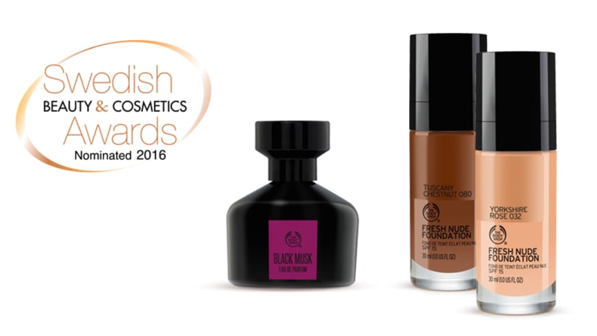 Två av The Body Shops innovationer nominerade till Swedish Beauty & Cosmetics Awards