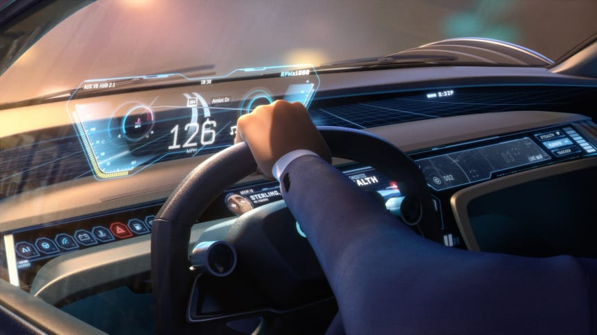 Audi RSQ e-tron cockpit (spionbil til animationsfilmen Spies in Disguise) med hovedperson Lance Sterling
