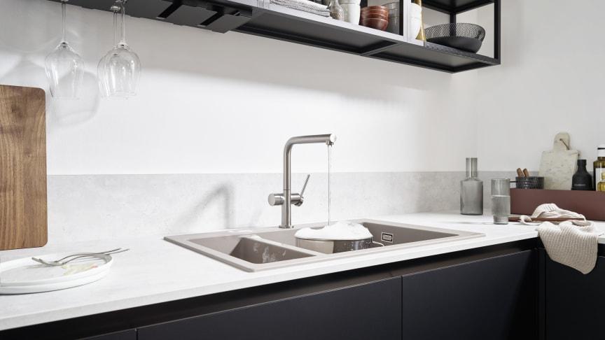 Talis M54 yksiote keittiöhana 270 1jet, pesukoneventtiili, teräs, miljöö