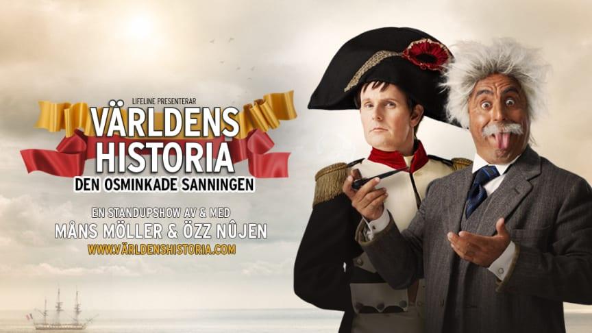 """Sveriges roligaste komikerduo Özz Nûjen och Måns Möller tar nya föreställningen """"Världens Historia – Den osminkade sanningen"""" på Sverigeturné"""