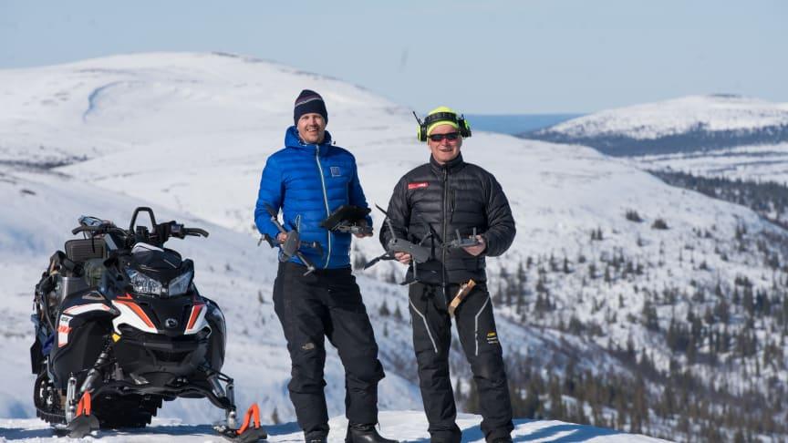 Mårten Wikner, Digidest och Niclas Johansson, renföretagare testade drönartekniken i fjället.