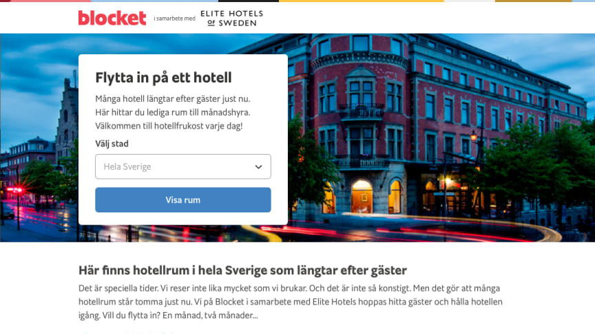 Elite Hotels + Blocket Bostad