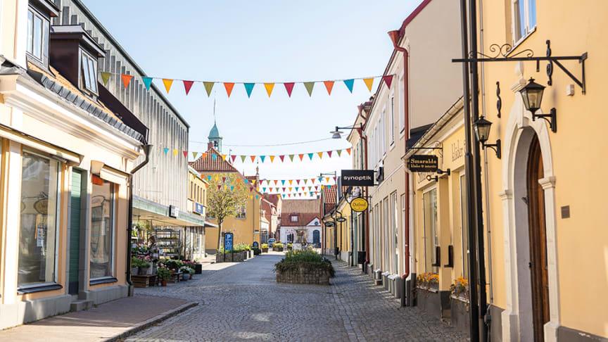 Södergatan i Sölvesborg i april 2020, för högupplösta pressbilder se länk nedan.