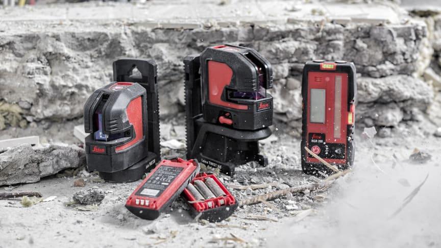 Tuff arbetsmiljö kräver tuffa verktyg -  nya Leica Lino med  det magnetiska 360-adaptern blir en trygg, snabb och noggrann arbetskompis!