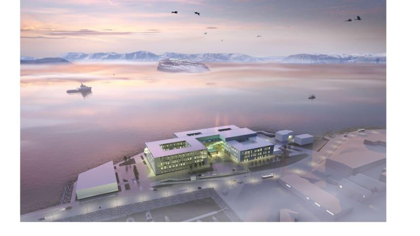 Nye Hammerfest sykehus (Illustrasjon: LINK Arkitektur)